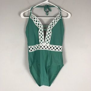 NWT Cupshe crochet one piece swimsuit green